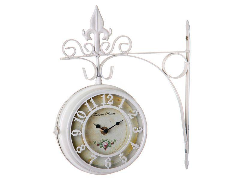 Reloj de estaci n vintage blanco de metal para la entrada - Reloj para salon ...