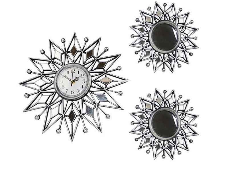 set de 3 piezas reloj de pared en forma de sol
