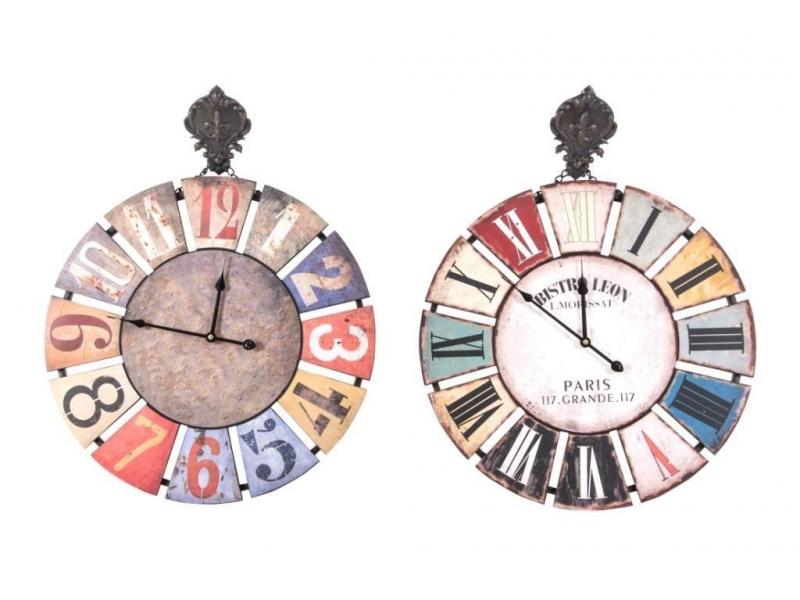 Reloj de Pared de Madera y Metal Gancho