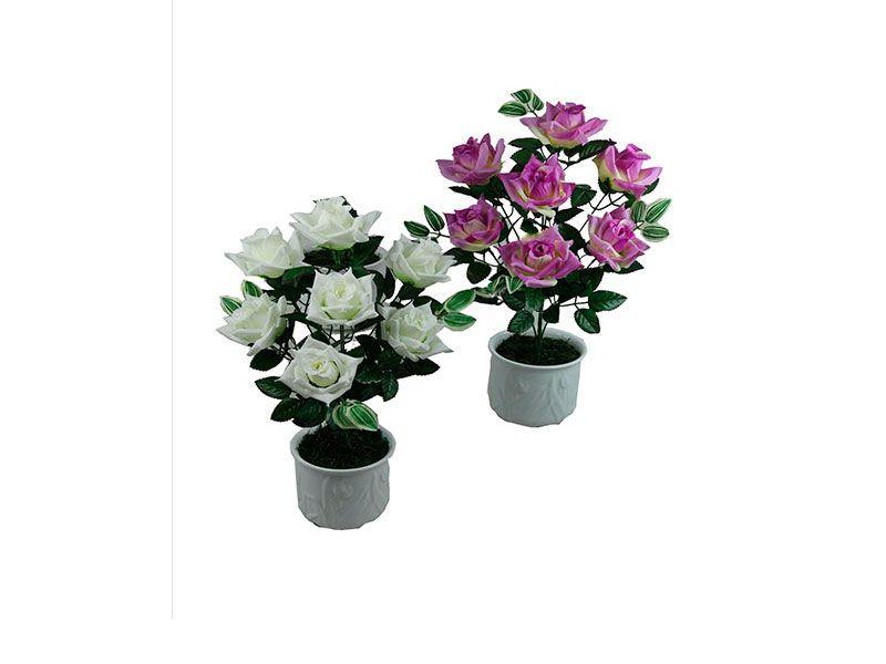 Ramo artificial de rosas satin 7 unidades blanco o lila