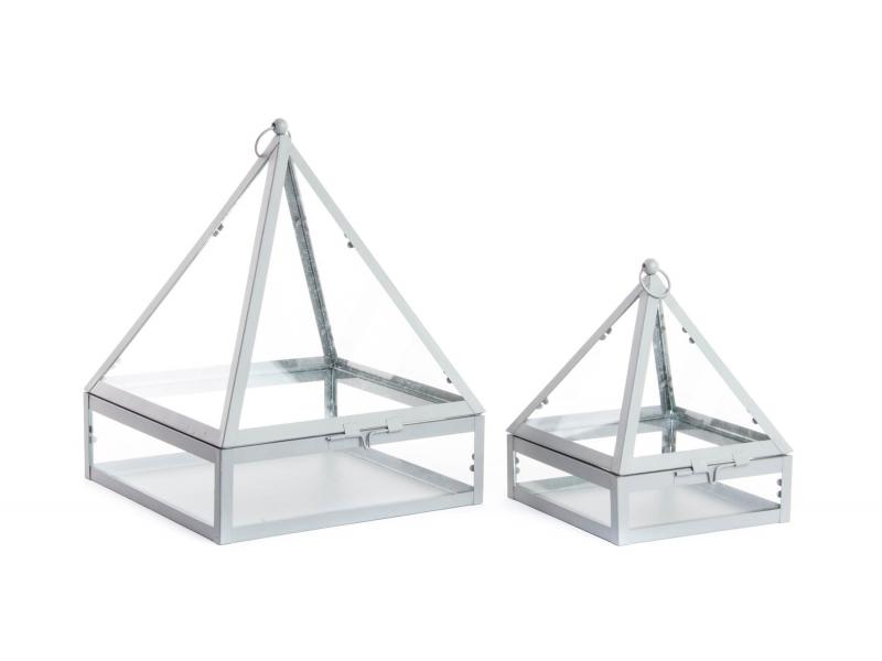 Set de 2 invernaderos de cristal y metal 23 32 15 5 20 - Invernadero de cristal ...
