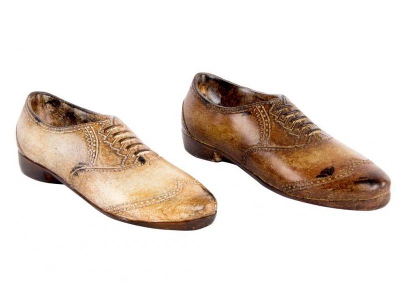 Set de 2 Zapatos de Decoración Resina Envejecido 14x4x4