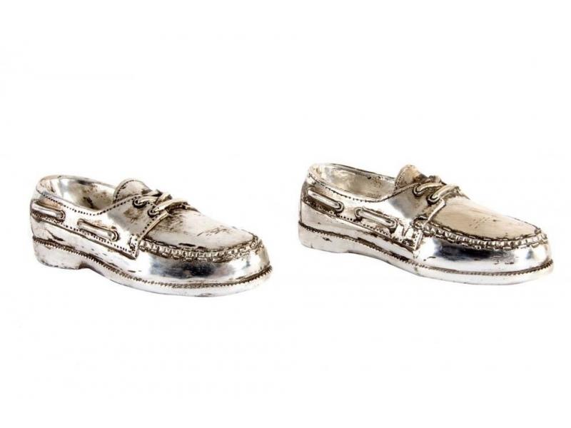 Set de 2 Zapatos de Decoración Resina Plateado 15x5x4