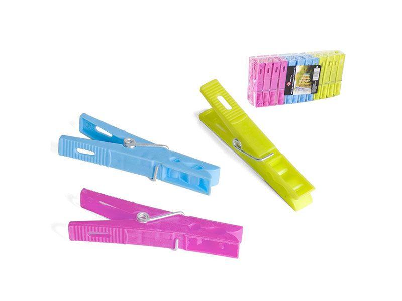 Set de 24 pinzas de plástico colores