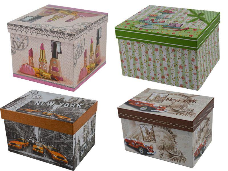 comprar cajas de cart n decoradas baratas para organizar. Black Bedroom Furniture Sets. Home Design Ideas