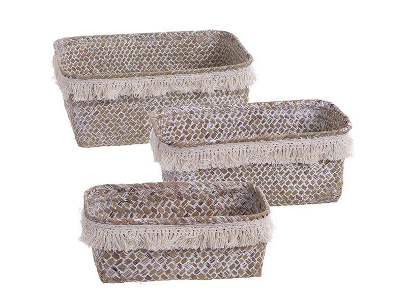 Set de 3 cestas rectangulares estilo boho