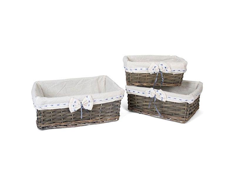 Set de 3 cestas Gery rectangulares con lazo