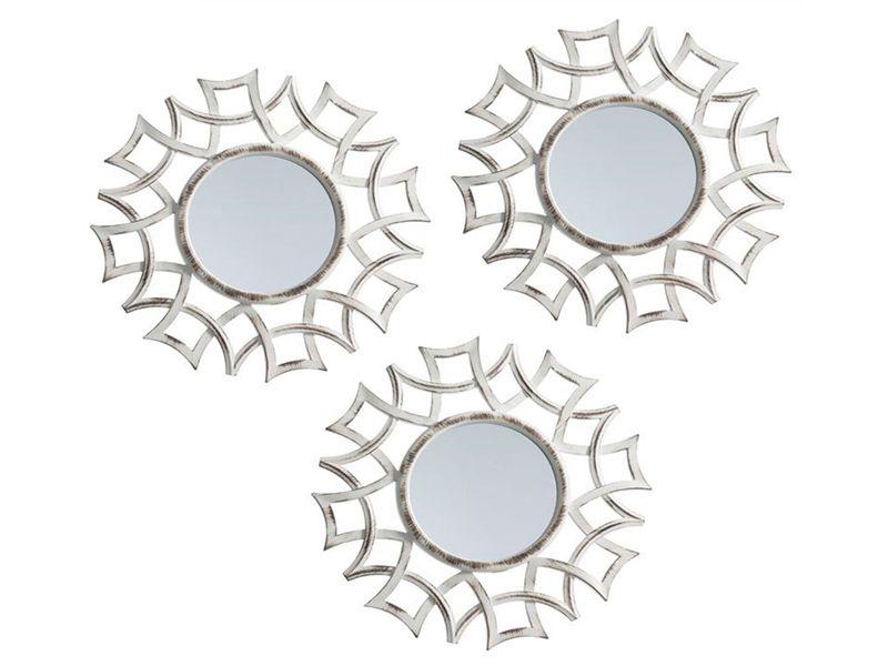 Juego de 3 espejos abstractos para pared color crema