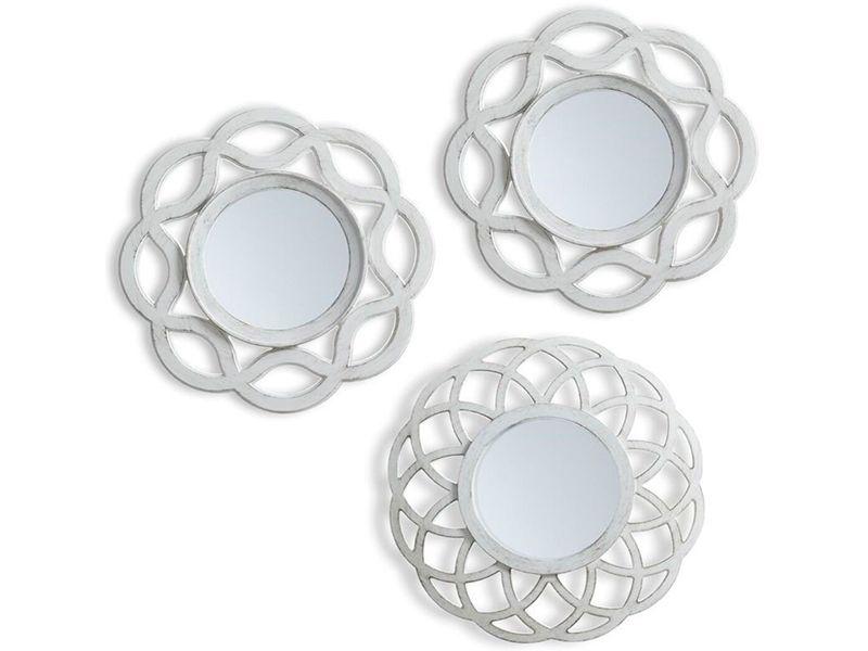 Juego de 3 espejos pared color blanco MRG