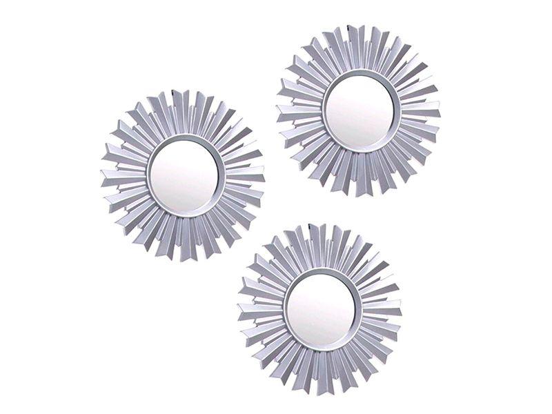 Set de 3 espejos plateados para pared