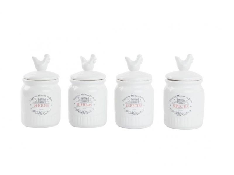 Set de 4 botes para especies de cerámica dolomita gallo