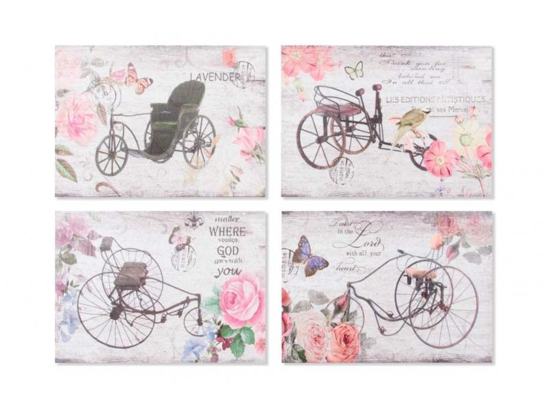 Set de 4 Cuadros Lienzo Bicicleta 70x50x2,5