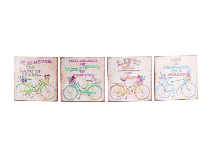 Set de 4 Cuadros Madera Bicicleta 25×25