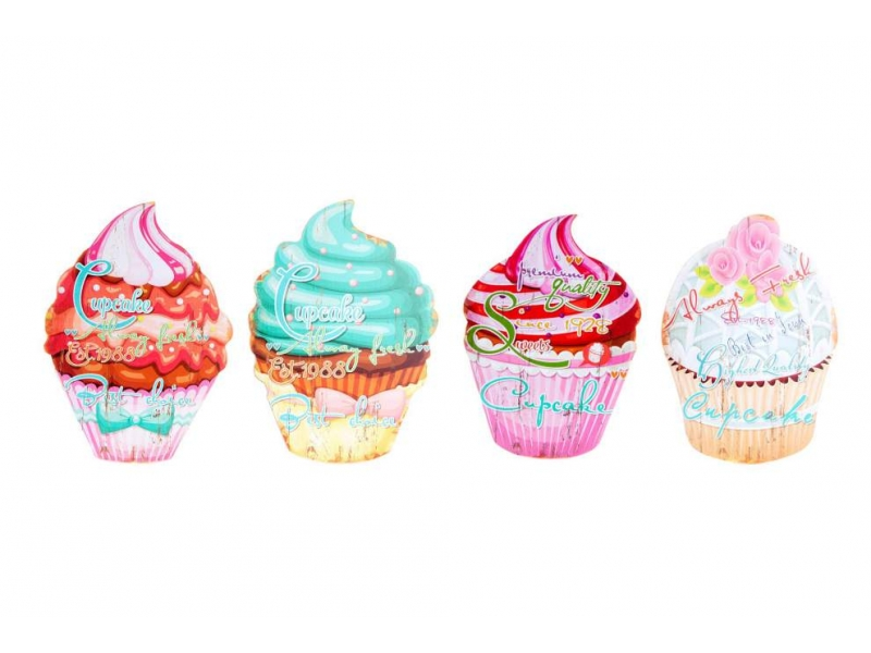 Set de 4 Cuadros Madera Cupcake 34×24,5×0,9