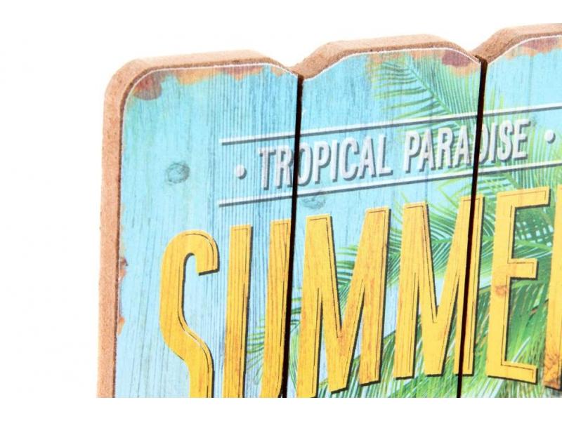 Set de 4 Cuadros Madera Playa 34,5×15