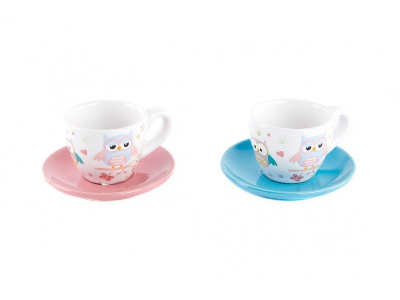 Set de 6 taza con plato cer mica b ho 2 colores 11x11x6 100 cc - Platos ceramica colores ...