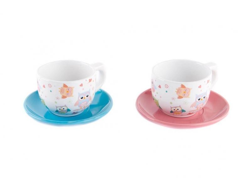 Set de 6 taza con plato cer mica b ho 2 colores 13x13x8 200cc - Platos ceramica colores ...