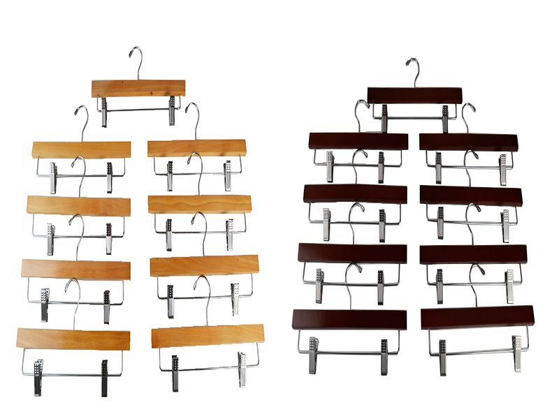 Pack de 9 perchas de madera para pantalón o falda 3 colores