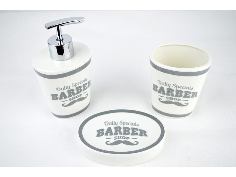 Set de ba o 3 piezas barbero dosificador vaso y jabonera for Dosificador para bano