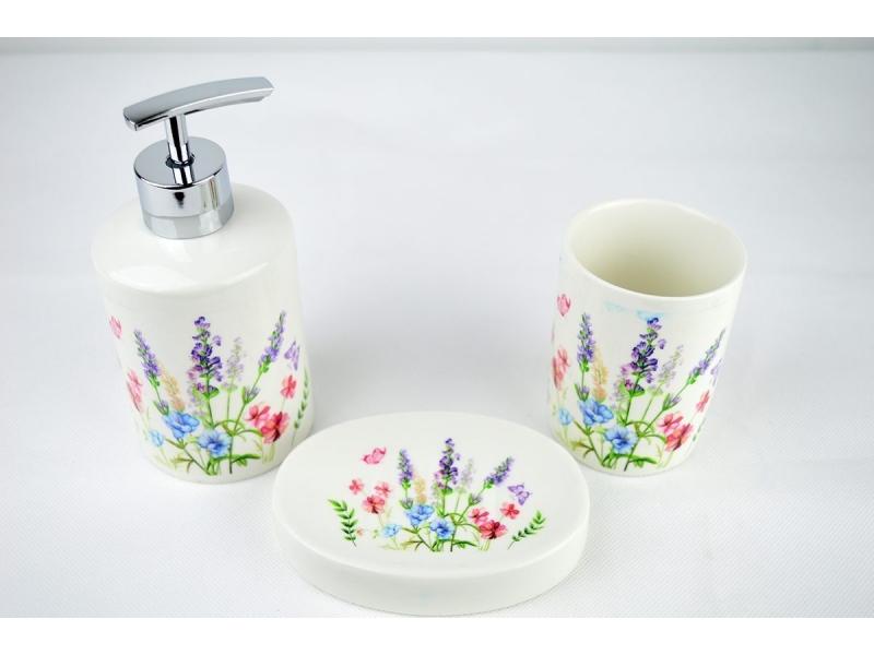 Set de ba o 3 piezas con lavanda dosificador vaso y jabonera for Set accesorios bano