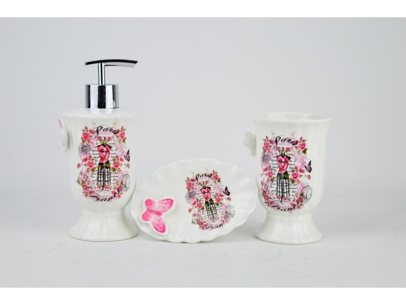 Set de ba o 3 piezas con mariposas dosificador vaso y for Porta jabonera para bano