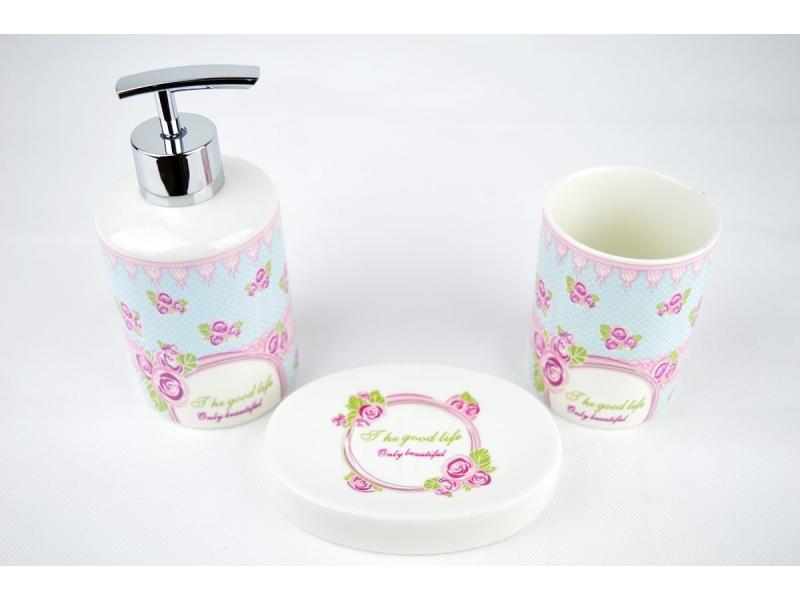 Set de ba o 3 piezas con rosas dosificador vaso y jabonera for Set accesorios bano