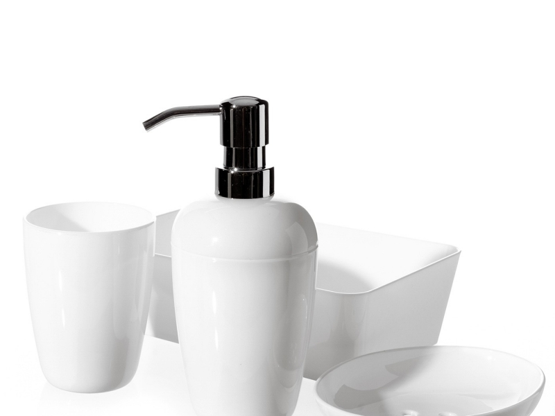 Set de ba o 4 piezas blanco dosificador vaso jabonera y for Jaboneras para bano