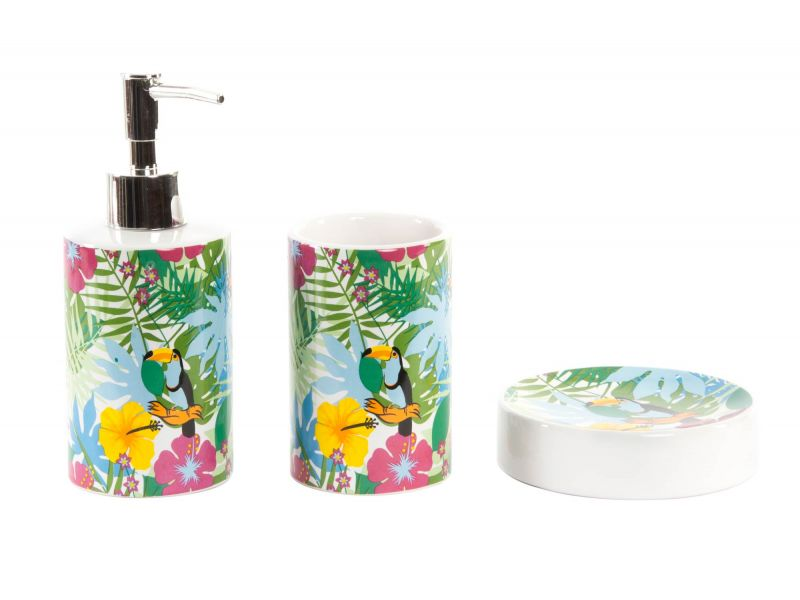 comprar Set de baño 3 Piezas tropical dosificador 87f2a7758238