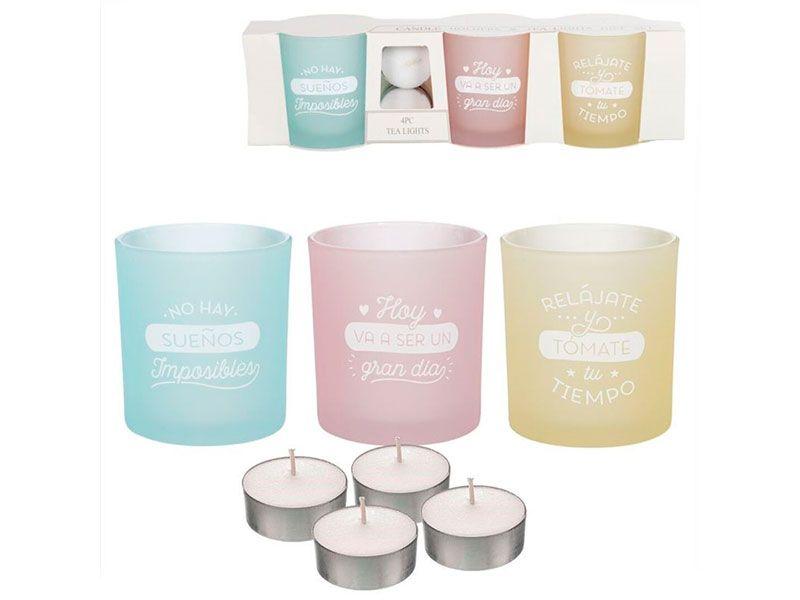 Juego de 3 candeles en tres colores diferentes con mensajes de lo más positivos y 4 velas de té