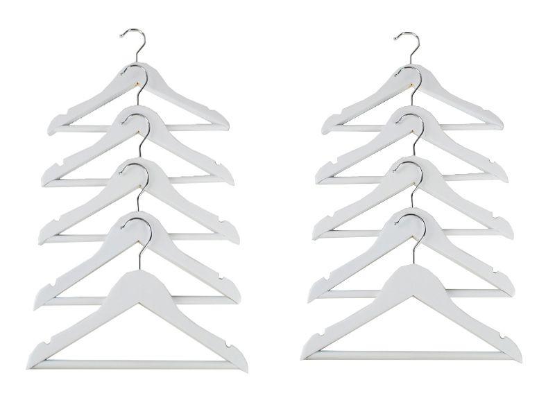 Pack ahorro de 12 perchas antideslizantes madera blanca