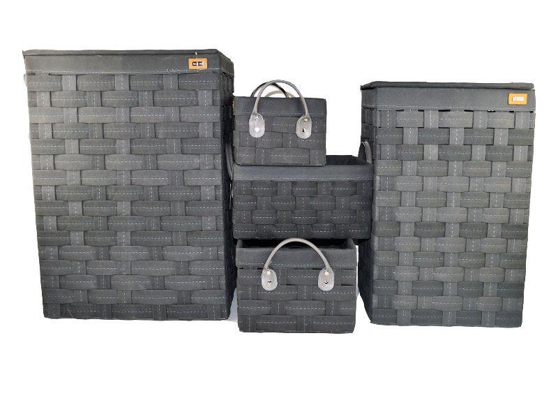 Juego de 2 pongotodo y 3 cestas trenzadas color gris
