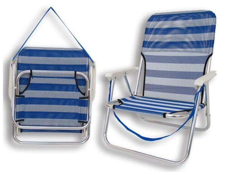 Silla playa baja plegable aluminio y textileno 54x40x71 centímetros
