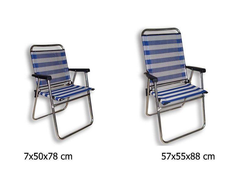 silla de playa fijo aluminio 2 tamaños