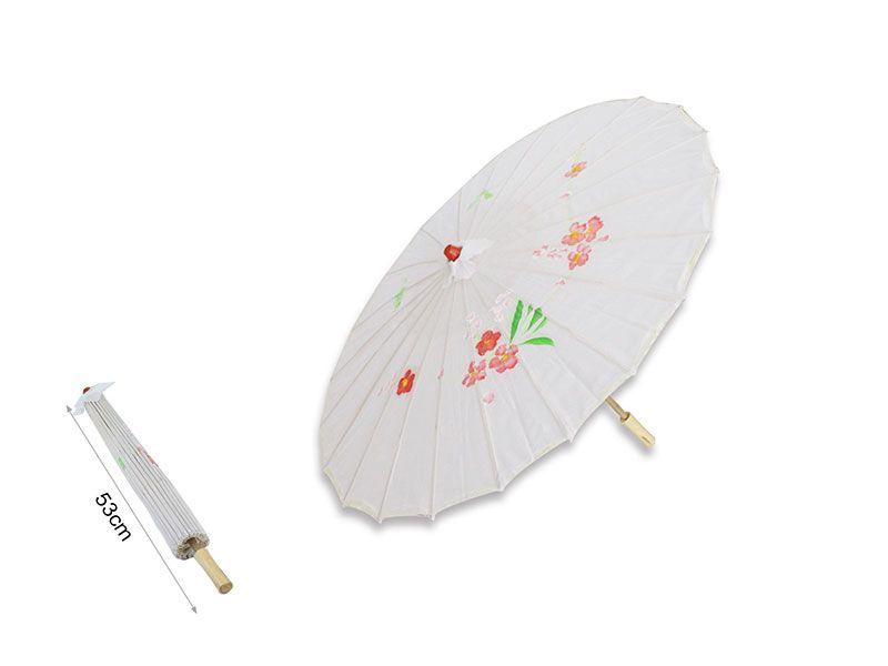 Sombrilla china de papel color blanco 53 cm