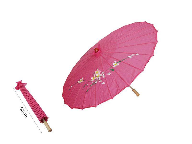 Sombrilla china de papel color rosa fucsia 53 cm