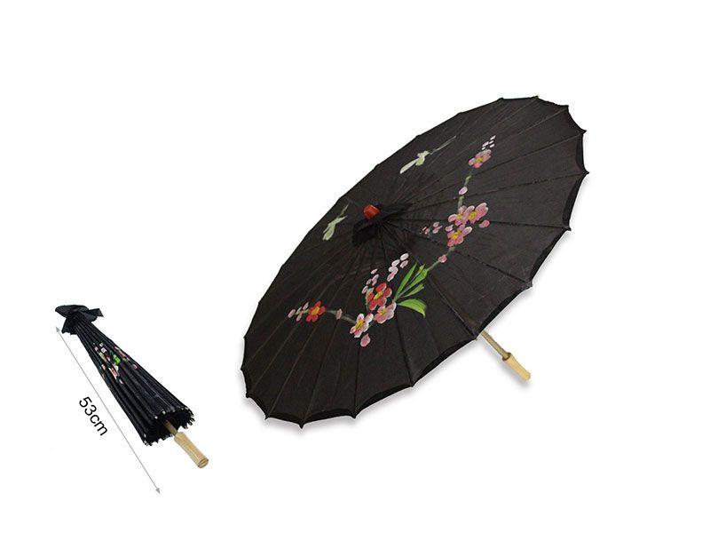 Sombrilla china de papel color negra 53 cm
