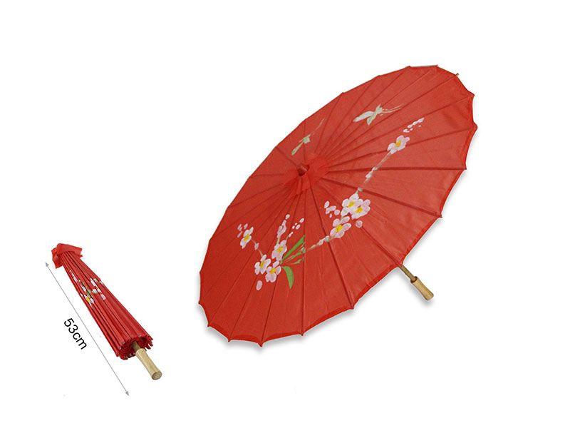 Sombrilla china de papel color rojo 53 cm