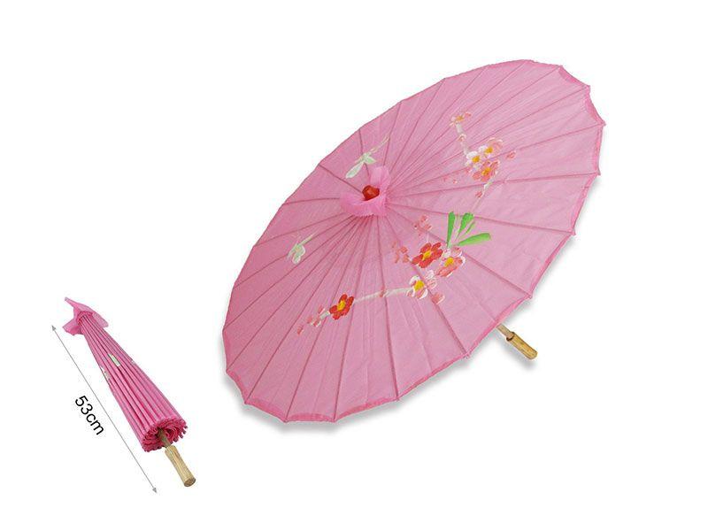 Sombrilla china de papel color rosa chicle 53 cm