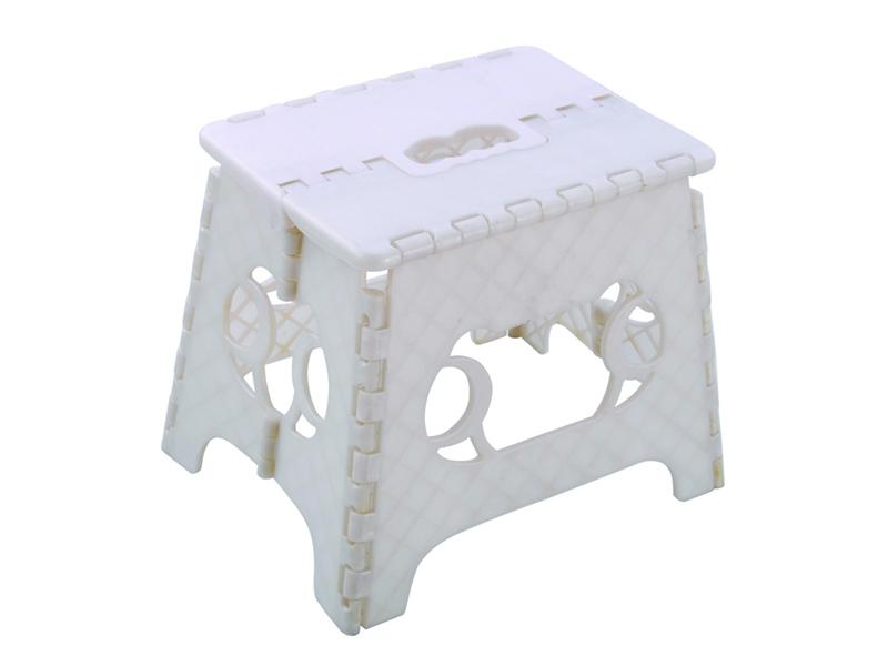 Taburete plegable de plástico blanco