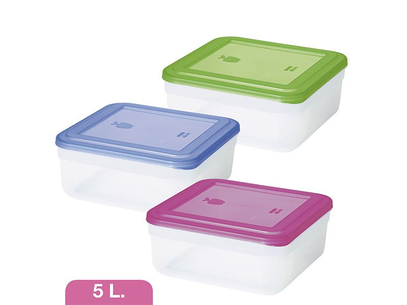 Tupperware cuadrado de 5 litros 3 colores a elegir