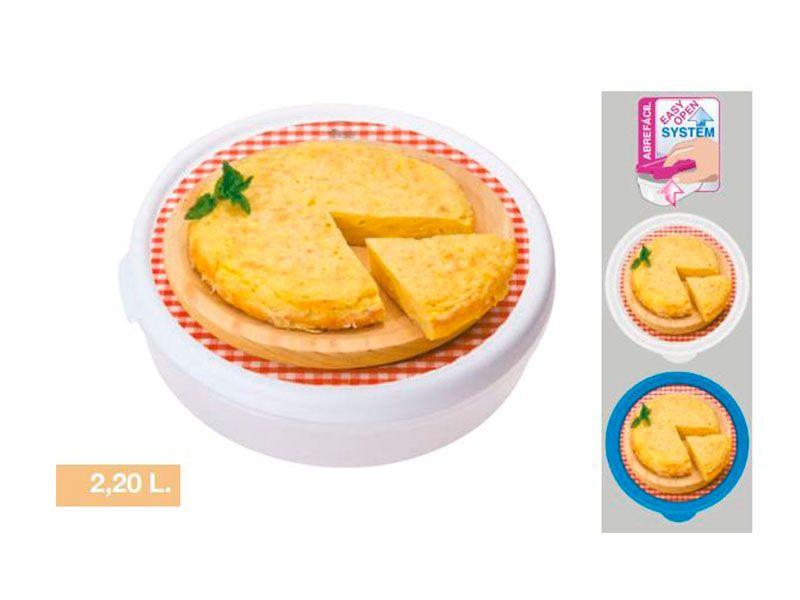 Fiambreras tuppers redondo iml abrefácil con impresión en la tapa de tortilla de patata disponibles en dos colores y con capacidad de 2.2 litros