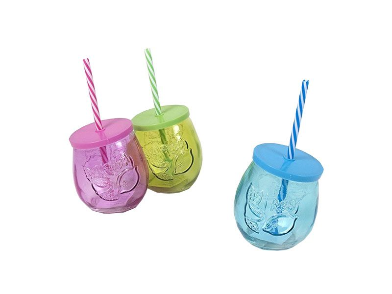 Tarro cristal 3 colores neo con pajita - cañas 400 ml