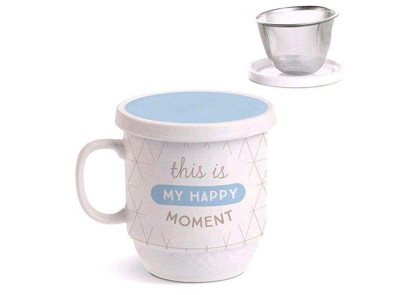 tisana o taza de té de cerámica con filtro de acero y capacidad de 340 ml
