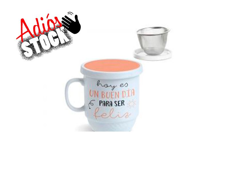 tisana de cerámica con tapa y filtro para té 350cc
