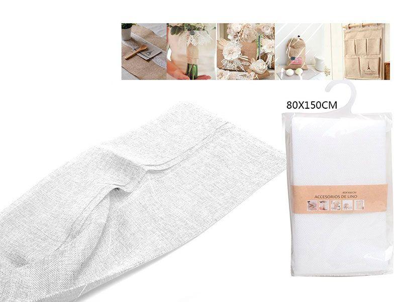 Auténtico Eco-Lino 80 cm x 150 cm Básico color blanco claro para manualidades punto de cruz o para confeccionar cualquier prenda