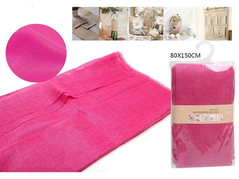 Auténtico Eco-Lino 80 cm x 150 cm Básico color fucsia para manualidades punto de cruz o para confeccionar cualquier prenda