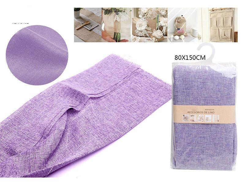 Auténtico Eco-Lino 80 cm x 150 cm Básico color morado para manualidades punto de cruz o para confeccionar cualquier prenda