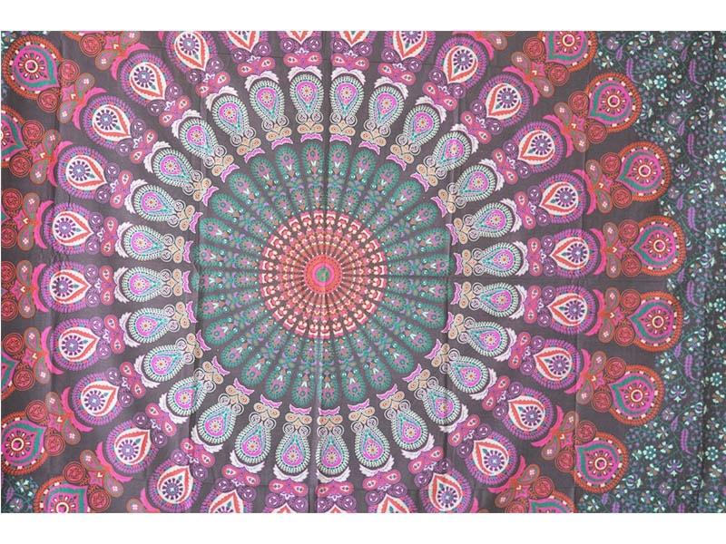tela mandala multicolor flor pavo real euros