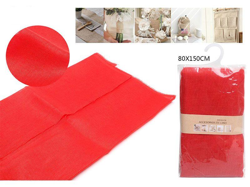 Auténtico Eco-Lino 80 cm x 150 cm Básico color rojo para manualidades punto de cruz o para confeccionar cualquier prenda