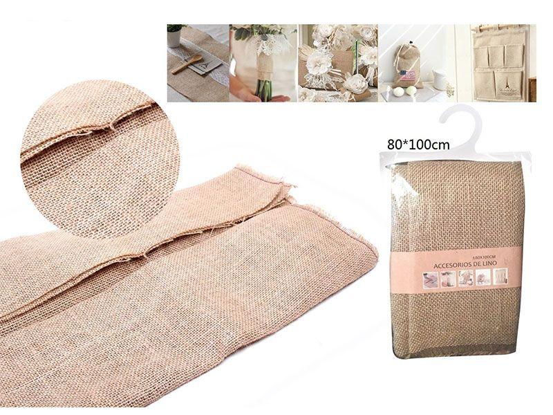 Auténtico Eco-Lino 80 cm x 100 cm Básico color caqui claro para manualidades punto de cruz o para confeccionar cualquier prenda